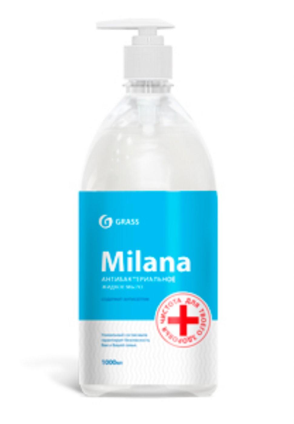 """Жидкое мыло """"Milana антибактериальное"""" с дозатором (флакон 1000 мл) 125435"""