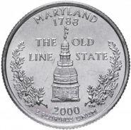 ХАЛЯВА!!! 25 центов США 2000г - Мэриленд, VF - Серия Штаты и территории