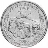 ХАЛЯВА!!! 25 центов США 2006г - Южная Дакота, VF - Серия Штаты и территории