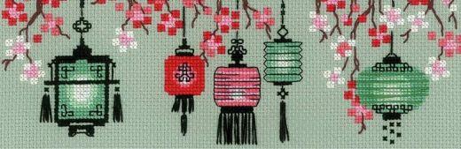 Набор для вышивания крестом Китайские фонарики №1707 фирма Риолис