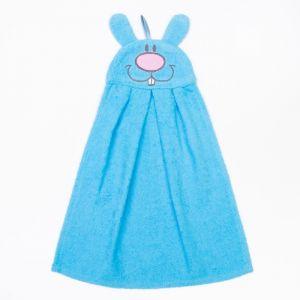 """Полотенце-рушник махровый """"Зайчик"""", 43?35 см, голубой, хл100%, 300 г/м?"""