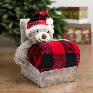 Плед с игрушкой Крошка Я «Новогодний мишка» 75?100 см, 100% п/э