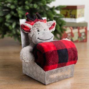 Плед с игрушкой Крошка Я «Новогодний олень» 75?100 см, 100% п/э