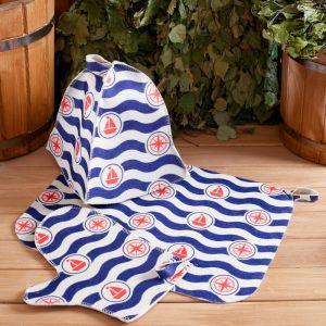 """Набор банный """"По волнам"""" с термопечатью ( шапка, коврик, рукавица)   4577150"""