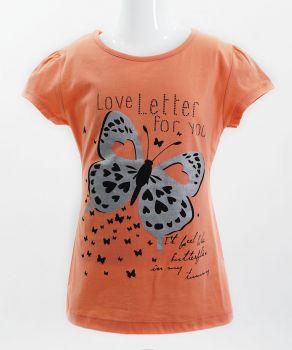 """Футболка для девочек Bonito kids """"butterflies"""" 4-8 лет коралловая"""