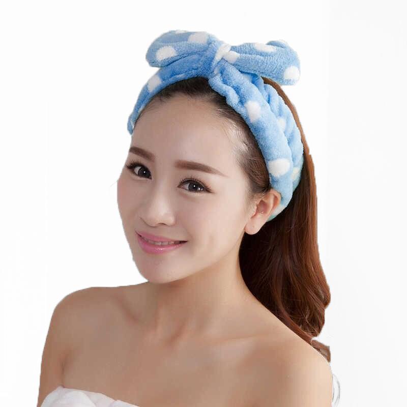 Повязка косметическая для волос с бантом Голубой в горох