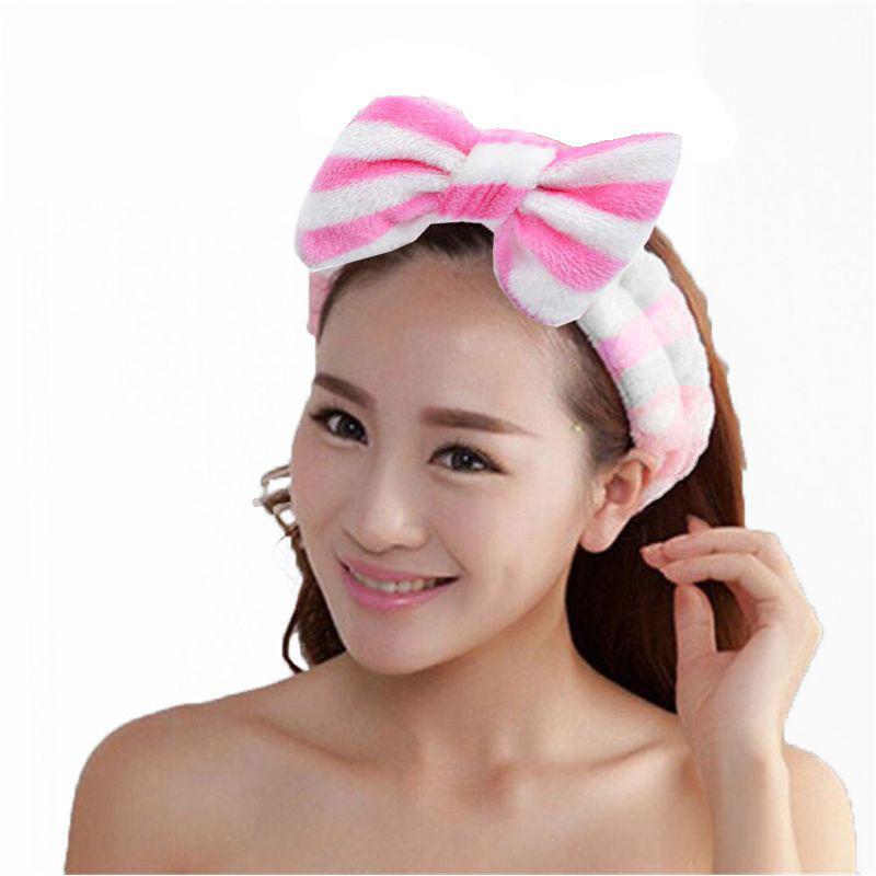 Повязка косметическая для волос с бантом Розовый в полоску