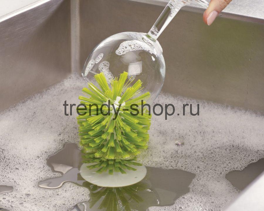Щетка-ёршик на силиконовой присоске для мытья бокалов и стаканов, 16 см