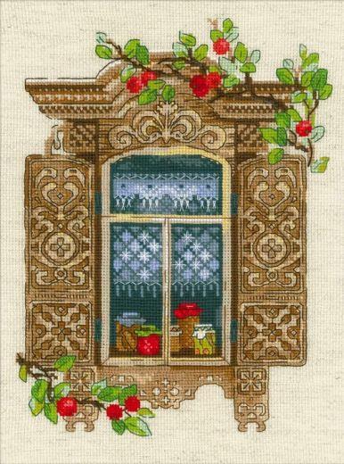 Набор для вышивания крестом Окошко в Малиновку №1732 фирма Риолис