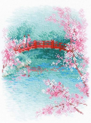 Набор для вышивания крестом Сакура. Мостик №1745 фирма Риолис