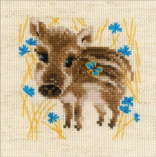 Набор для вышивания крестом Маленький кабанчик №1756 фирма Риолис