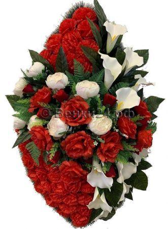 Траурный венок из искусственных цветов - Элит #35