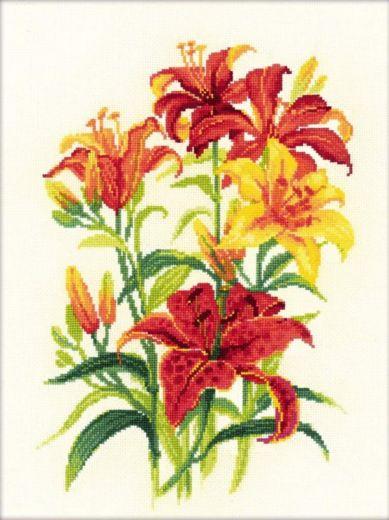 Набор для вышивания крестом Солнечные лилии №1782 фирма Риолис