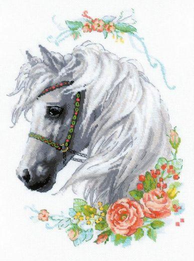 Набор для вышивания крестом Белогривая лошадка №1804 фирма Риолис