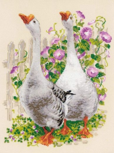 Набор для вышивания крестом Гуси №1807 фирма Риолис