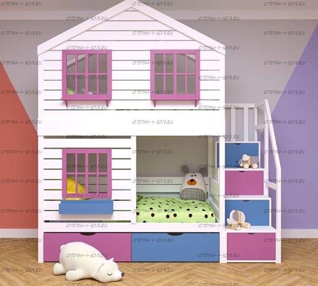 Двухъярусная кровать-домик Roof №8