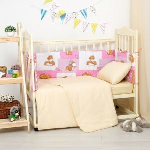 Бортики в кроватку 60x120 мишки на розовом, синтепон, хл 100%, бязь 140г/м   2869744