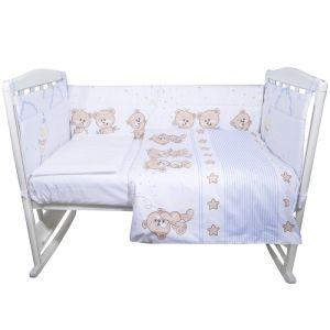 Комплект в кроватку «Прогулка», 4 предмета , цвет голубой, сатин