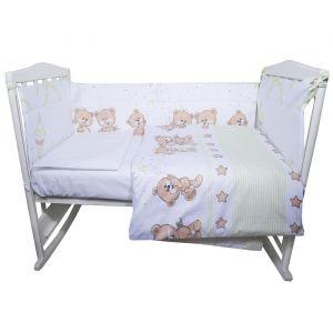 Комплект в кроватку «Прогулка», 4 предмета , цвет зелёный, сатин
