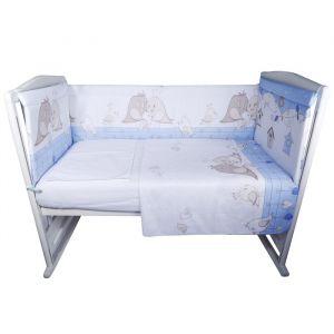 Комплект в кроватку «Птички», 4 предмета, цвет голубой, бязь