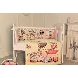 Комплект в кроватку Жирафы, цвет бежевый, 6 предметов,перкаль, хл100%   4644759