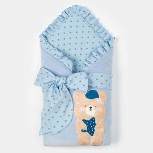 """Конверт-одеяло Крошка Я """"Мишка"""", голубой, 50-62см   4662215"""