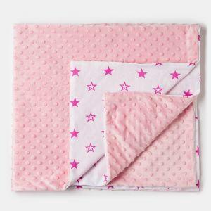 Плед детский двусторонний розовый 90х100см, плюш 260г/м пэ100%, бязь 125г/м хл100%   4562650