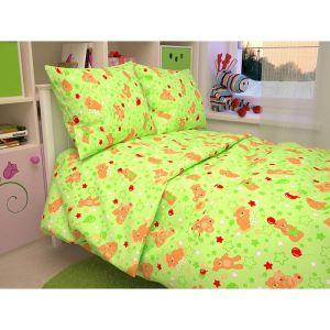 """Детское постельное бельё BABY """"Мишки"""", цвет зеленый 112х147 см, 110х150 см, 60х60 см, бязь 142 гр/м"""