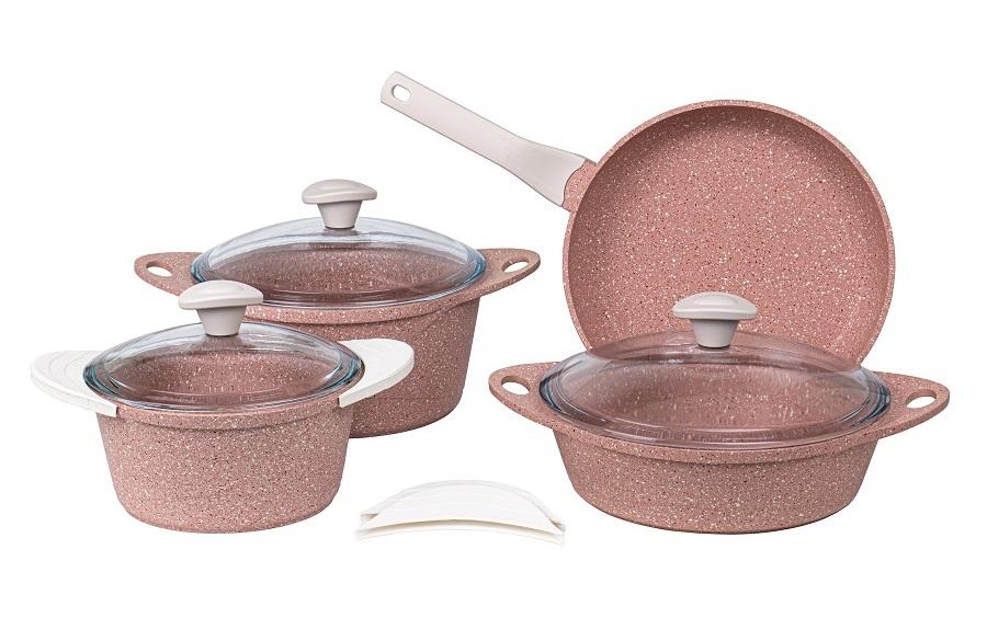 Набор посуды 7 предметов из литого алюминия с силиконовыми ручками DARIIS розовый гранит, жаровня 26 см с крышкой, сковорода 26 см, кастрюля 2.8 л с крышкой, кастрюля 4.5 л с крышкой HUR-A-15131