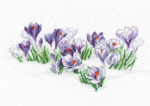 Набор для вышивания крестом Крокусы под снегом № 1855 фирма Риолис