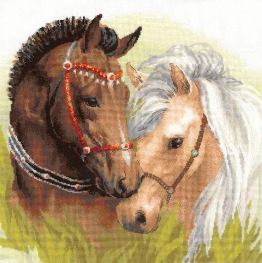 Набор для вышивания крестом Пара лошадей №1864 фирма Риолис