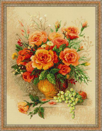 Набор для вышивания Riolis Premium Чайные розы 100/049 фирма Риолис