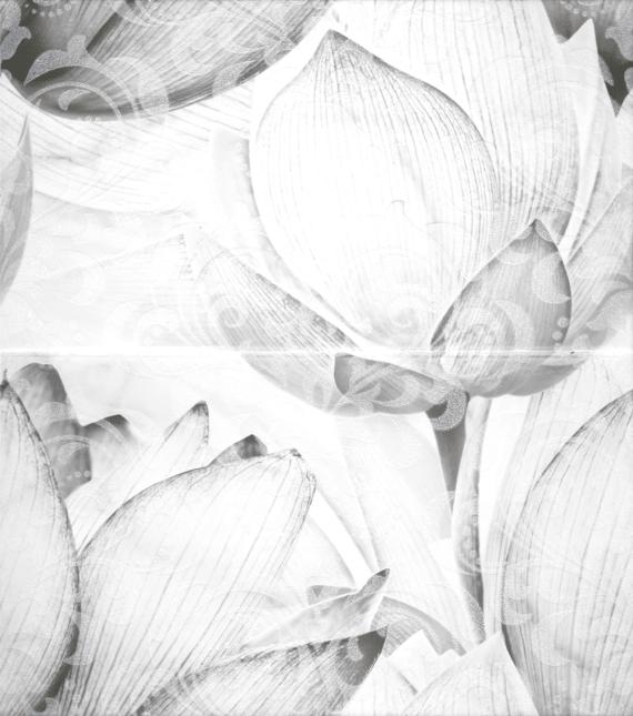 1609-0019 Панно настенное Каррарский Мрамор 50x45 цветы (комплект из 2 шт)