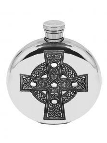 Фляжка из британского пьютера круглая- Кельтский Крест, Celtic Cross 6oz Pewter Hip Flask.