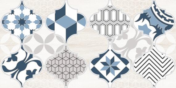 1641-8630 Настенная плитка декор2 Мореска 20х40 синяя