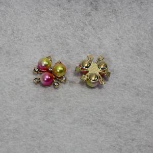 `Кабошон со стразами, цвет основы: золото, цвет стразы: желто-розовый, размер: 20мм