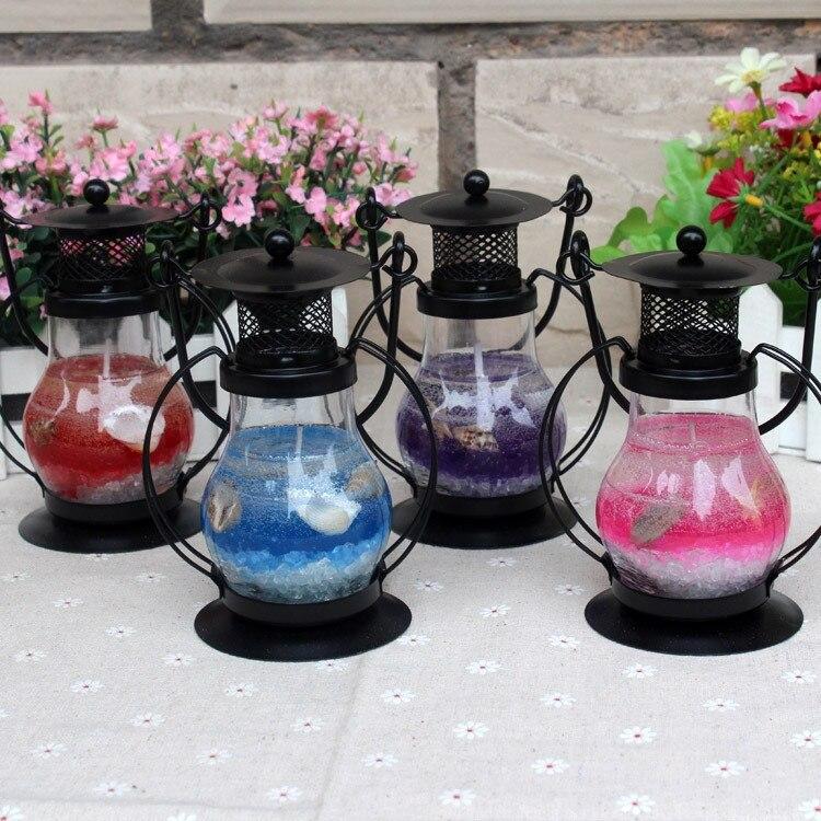 Гелевая свеча Керосиновая Лампа 13 см (цвет наполнителя фиолетовый)