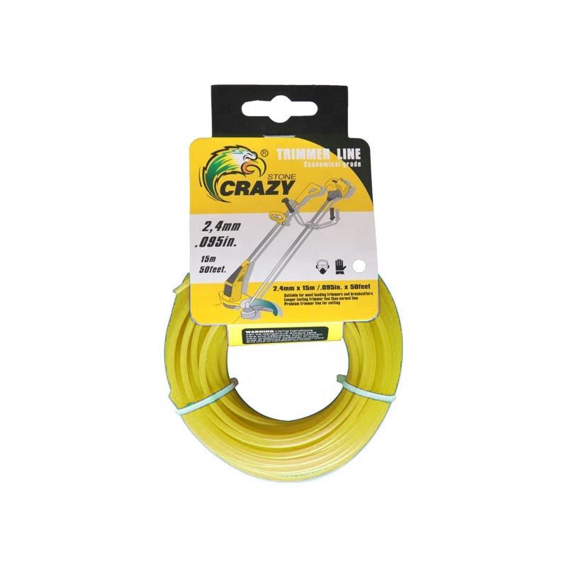 Леска для триммера Crazy Stone диаметр 2.4 мм (цвет жёлтый)