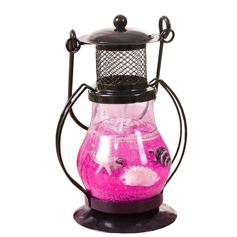 Гелевая свеча Керосиновая Лампа 13 см (цвет наполнителя розовый)