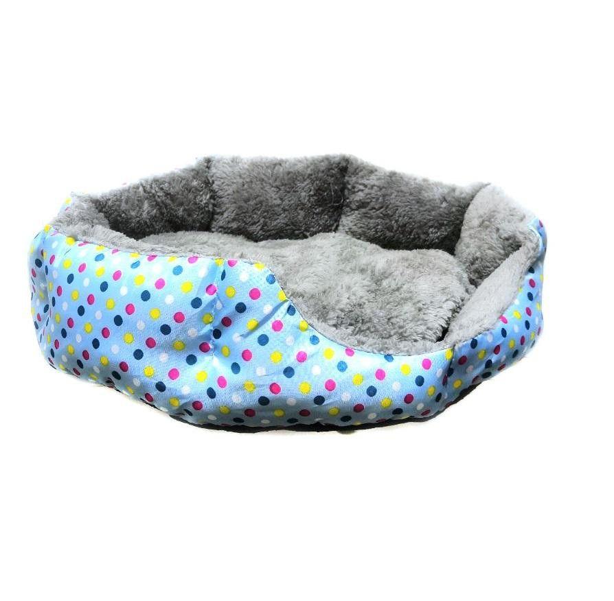 Круглый Меховой Лежак Для Кошек И Собак Горошек, 35 См, Цвет Голубой