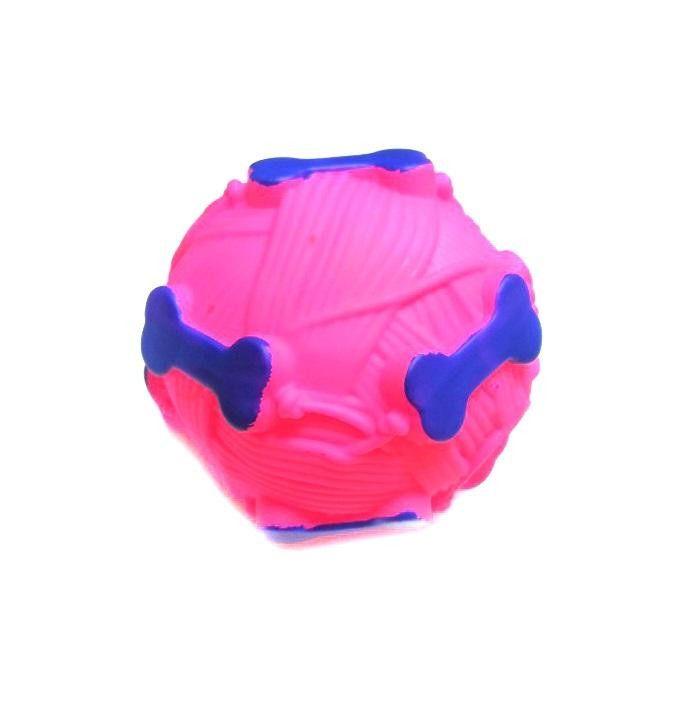 Звуковая Игрушка Для Собак Мячик С Отверстием Для Лакомства, 9 См, Цвет Розовый