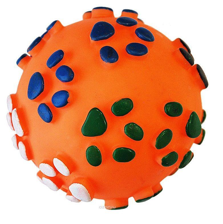 Виниловая Игрушка-Пищалка Для Собак Мячик Лапки, 7 См, Цвет Оранжевый