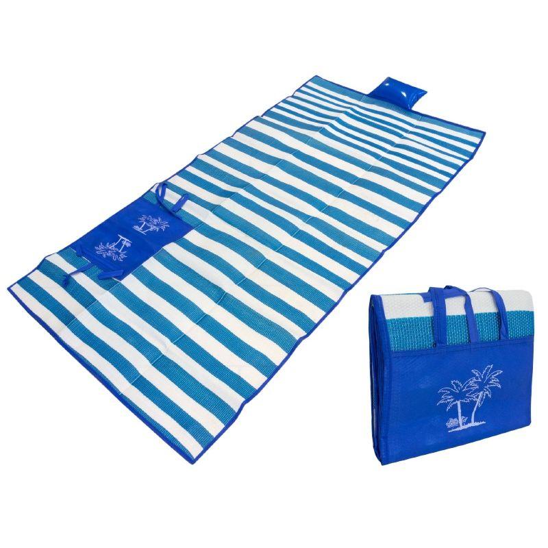 Пляжный Коврик С Ручками Для Переноски, 150х170 См, Цвет Синий