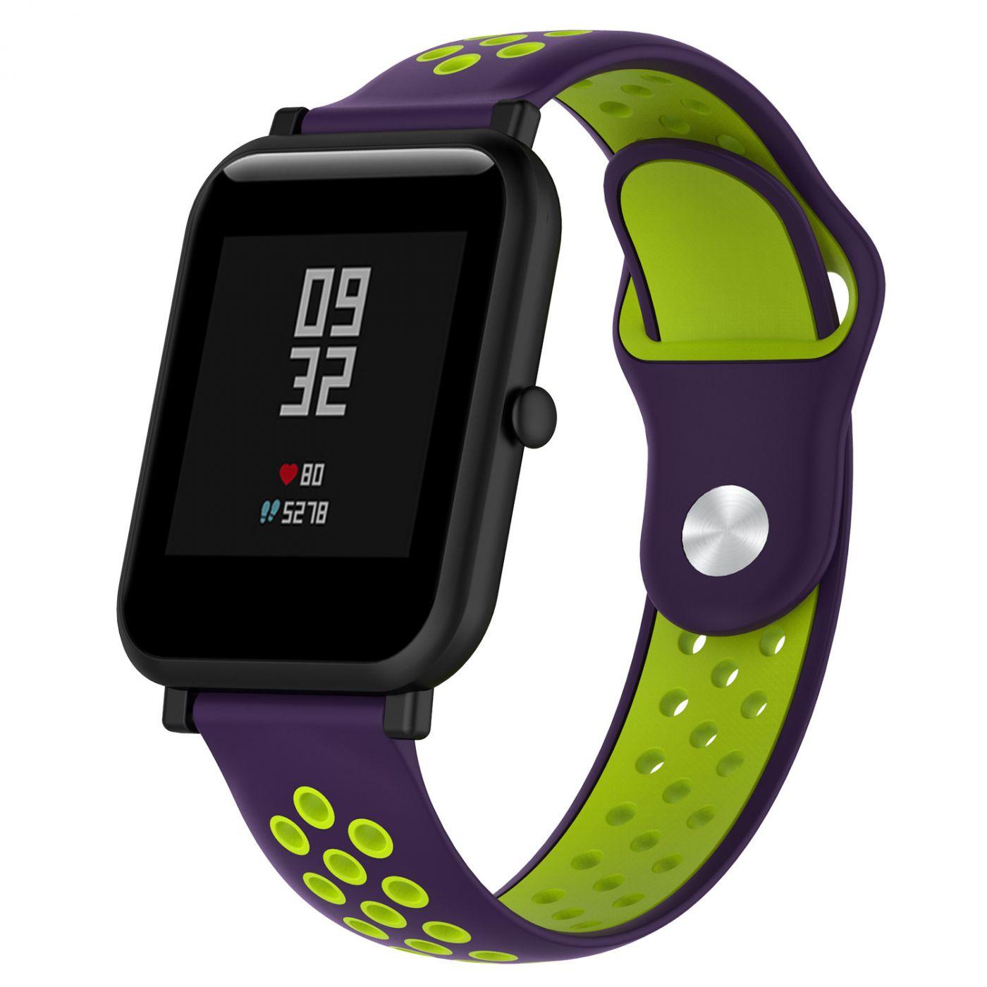 Сменный ремешок для Умных часов  Amazfit Bip Smartwatch (Фиолетовый - Салатовый)