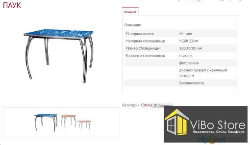 Кухонный стол с фотопечатью Паук (1000х700мм)