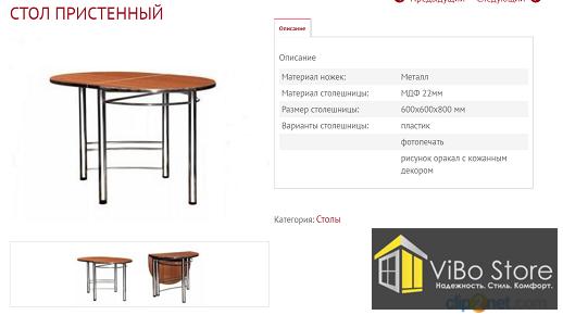 Стол Пристенный (600х600х800мм)