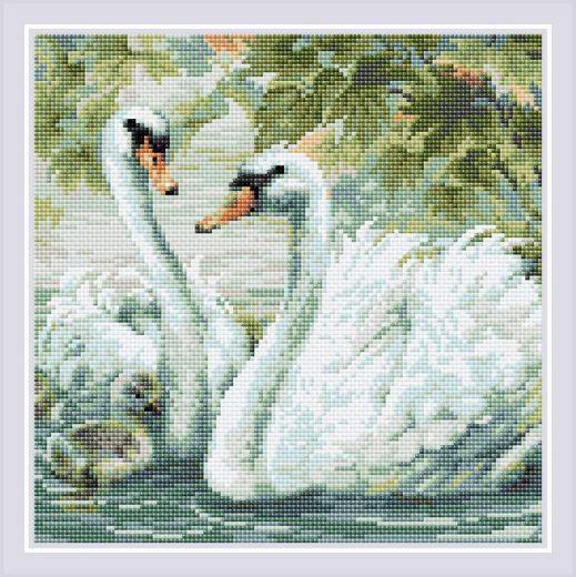Набор для выкладывания стразами Белые лебеди АМ0036 фирма Риолис