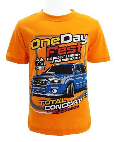 "Футболка для мальчика Dias kids ""One Day Fest"" 4-8 лет оранжевая"