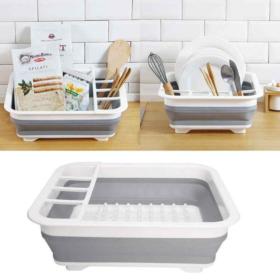 Сушилка-поддон для посуды складная силиконовая, 38х29х12 см
