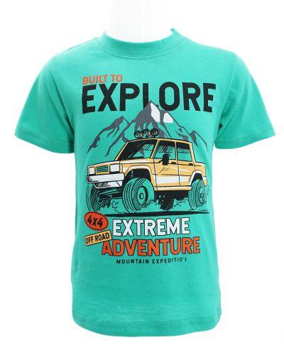 """Футболка для мальчика 1-4 года Dias kids """"Explore"""" бирюзовая"""